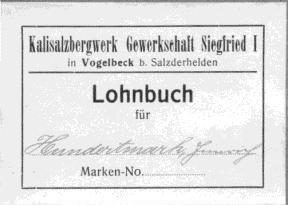 Lohnbuch vom Grubenaufseher Heinrich Hundertmark